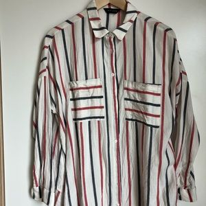 ASOS red and white stripe flannel button down 14